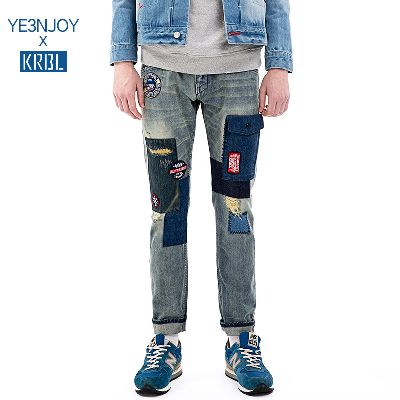 Krbl house YE3ENJOY KYD02 puckering original design tide brand jeans straight joint models
