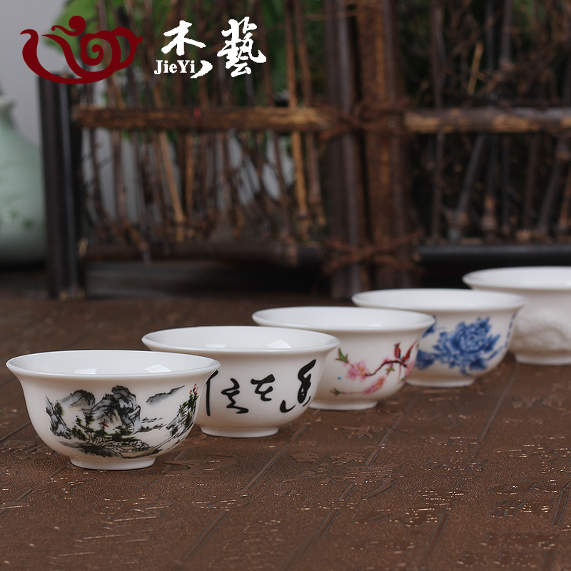 Kung fu tea cup ceramic tea cup tea cup single cup small cup of jingdezhen porcelain tea bowl red bubble