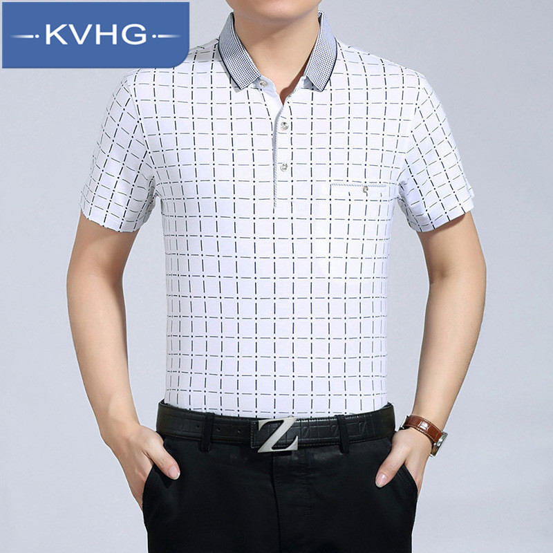 Kvhg business casual plaid t-shirt 2016 summer new lapel short sleeve casual shirt iron middle-aged 4895