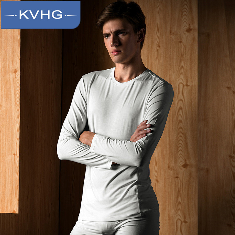 Kvhg everyday casual men's 2016 european and american fashion style men's round neck bottoming shirt wild solid color long sleeve 2960