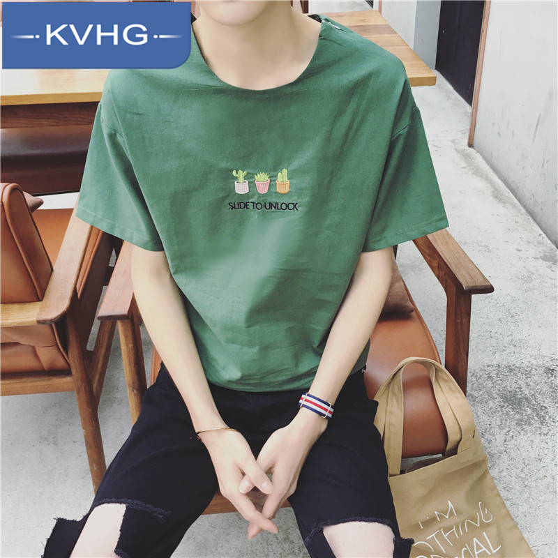 Kvhg fashion embroidered 2016 new youth summer influx of men round neck t-shirt loose short sleeve t-shirt 7985