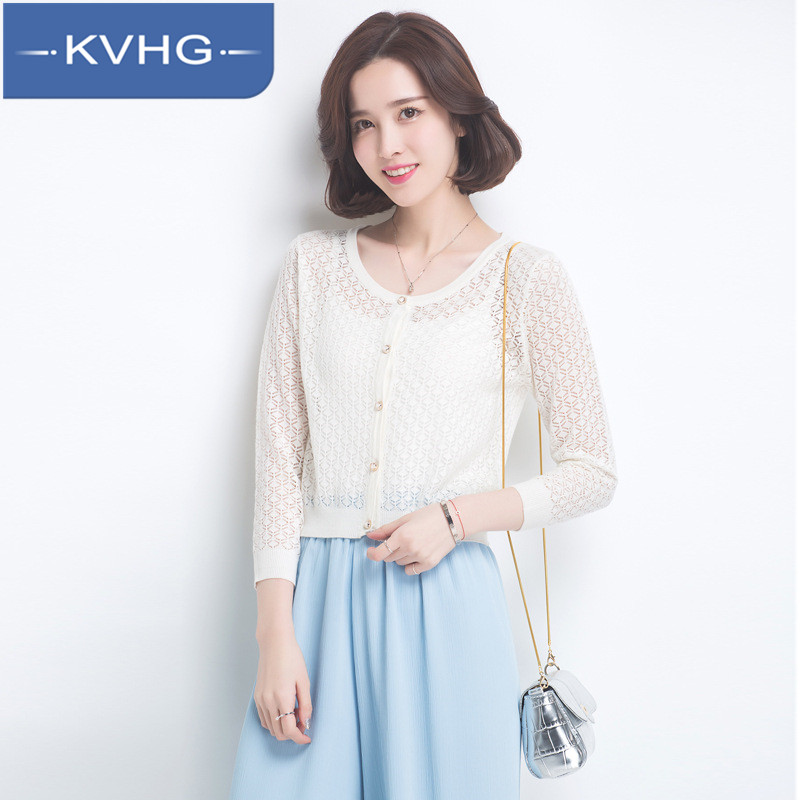 Kvhg fashion lace sun shirt 2016 summer korean women slim was thin knit cardigan thin section 8993