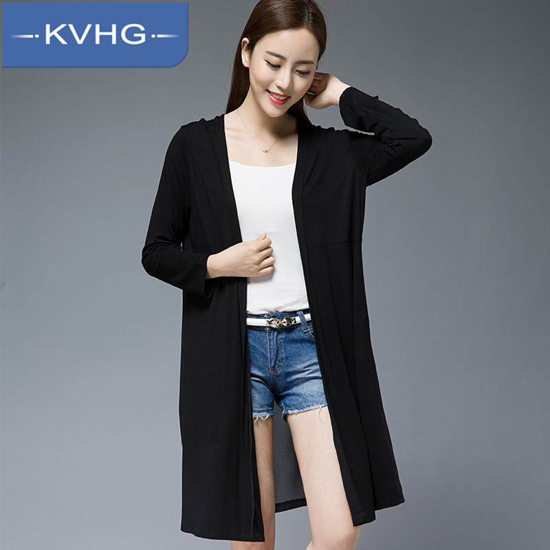 Kvhg ladieswear korean fashion slim thin coat tide 2016 summer new solid color long section sunscreen 6827