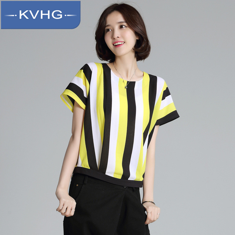 Kvhg loose and comfortable summer new women's fashion 2016 new classic vertical stripes chiffon shirt hedging 0477