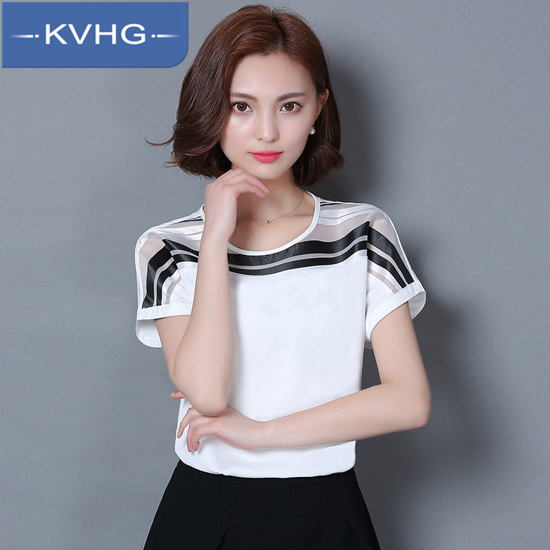 Kvhg new fashion stripes stitching loose chiffon shirt 2016 summer women short sleeve t-shirt bottoming shirt 3407