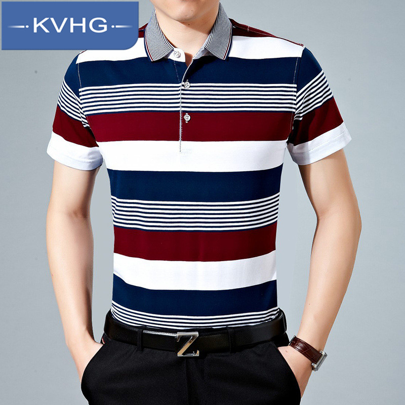 Kvhg personality thin section striped t-shirt loose and comfortable middle-aged father loaded fashion polo shirt lapel tide 1765