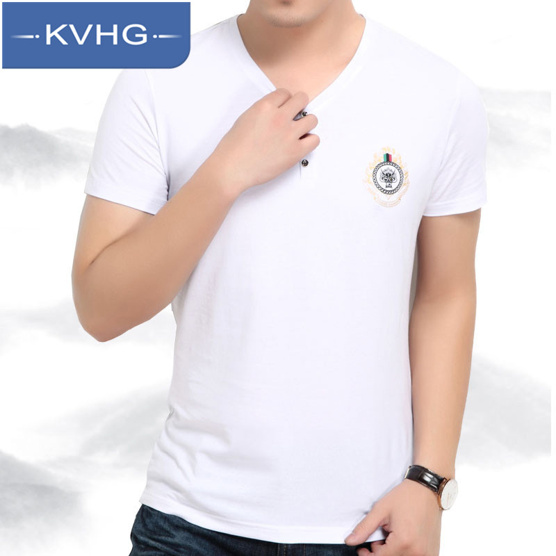 Kvhg short sleeve 2016 summer new middle-aged men's business casual men's v-neck solid color t-shirt bottoming shirt 9641