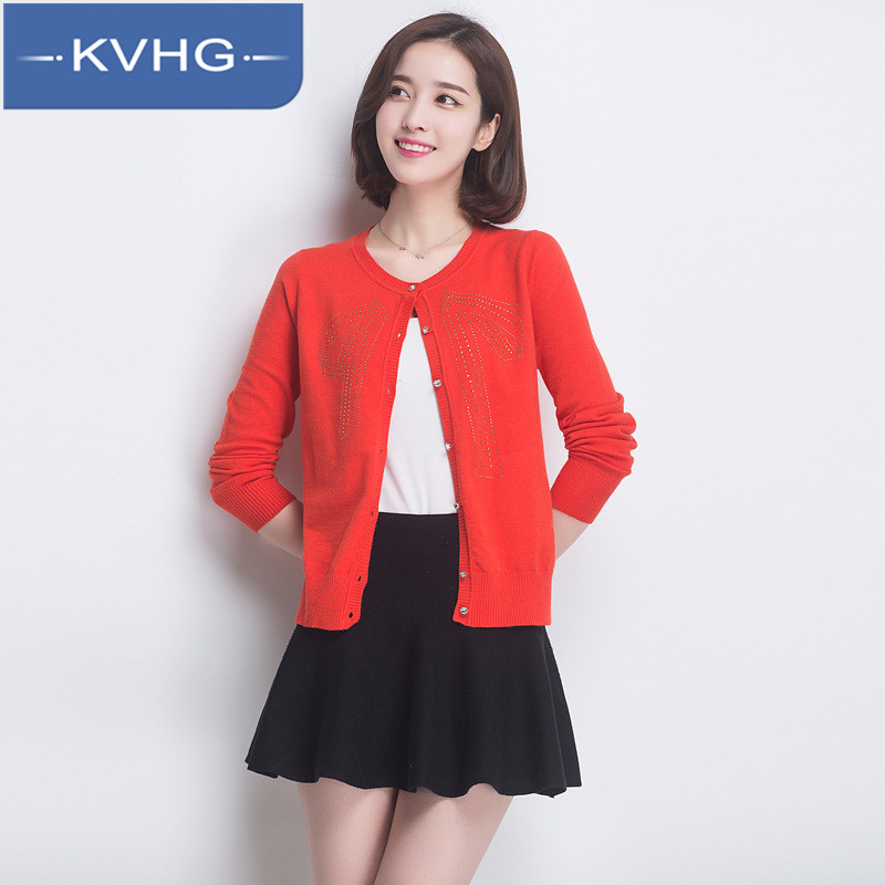 Kvhg simple fashion ladies single breasted coat slim knit cardigan tide 2016 summer fashion thin section 6702