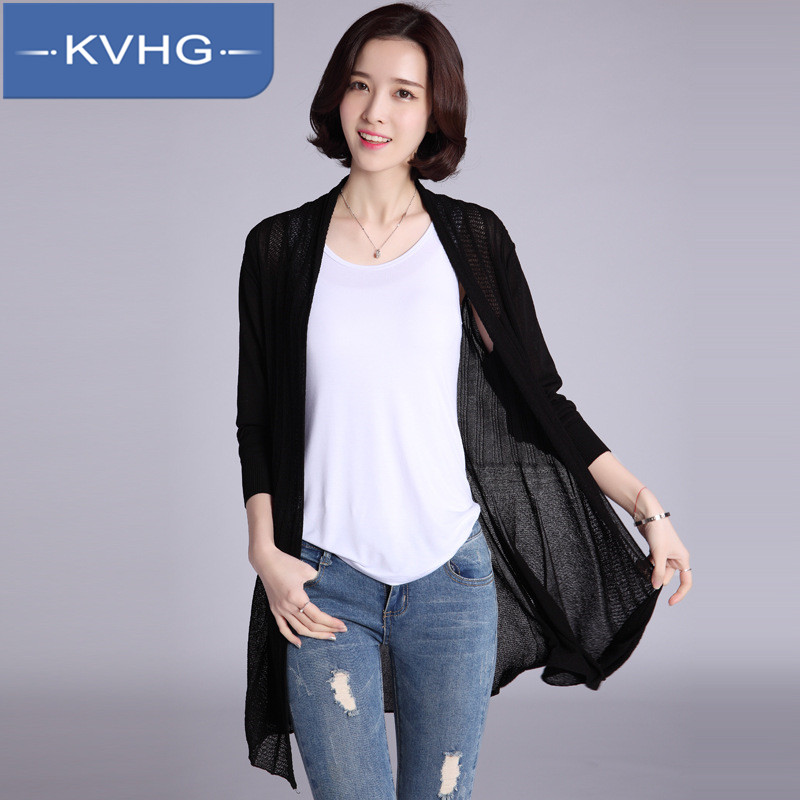 Kvhg slim solid long section of blouses 2016 summer new fashion women's knit cardigan sun shirt thin section 9414
