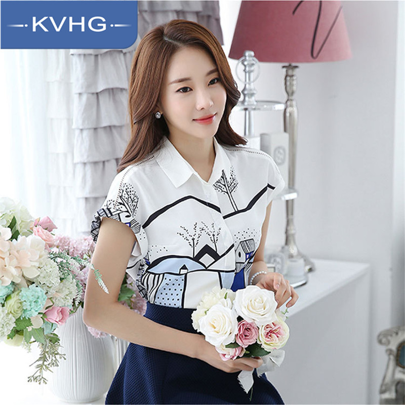 Kvhg women chiffon shirt 2016 summer new printing wild casual hedging comfortable short sleeve shirt tide 3341