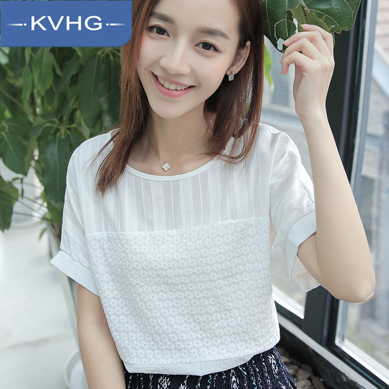 Kvhg women's fashion 2016 summer new wild solid color comfortable round neck short sleeve t-shirt influx of women with disabilities 3314