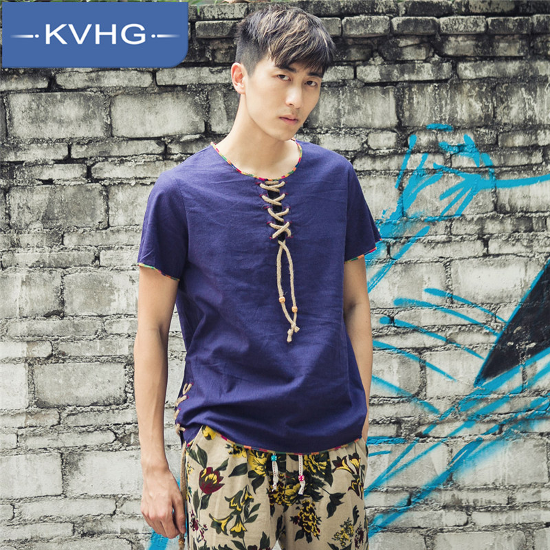 Kvhg youth summer 2016 new solid color round neck short sleeve t-shirts retro loose linen shirt male 0659