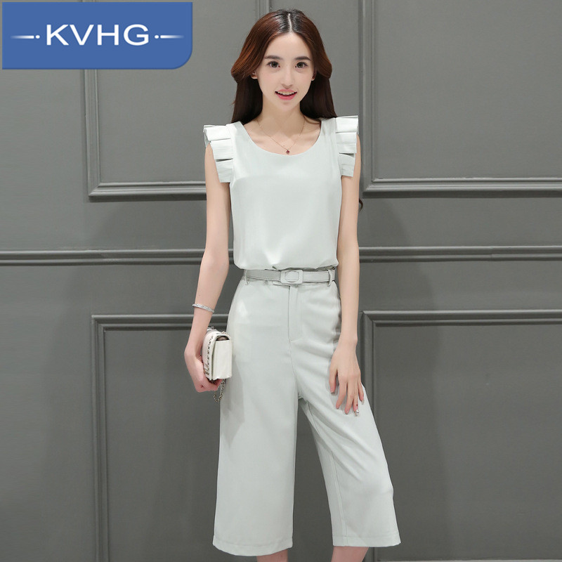 KVHG2016 aristocratic temperament summer new women's fashion loose solid color wide leg pants suit fashion tide 9400