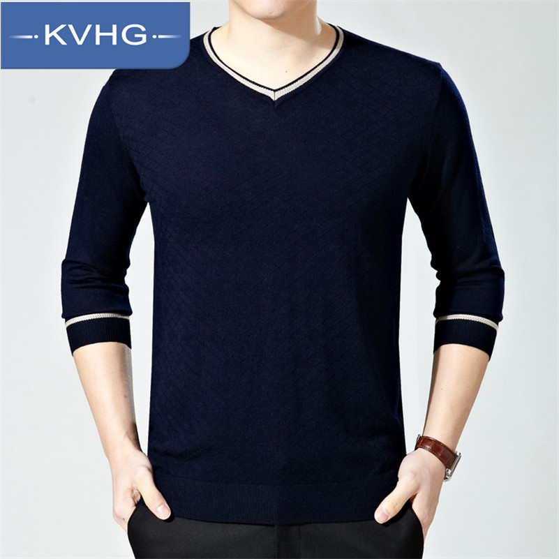 KVHG2016 new spring middle-aged men middle-aged men's long sleeve solid color men's v-neck t-shirt bottoming shirt big yards tide loaded 3183