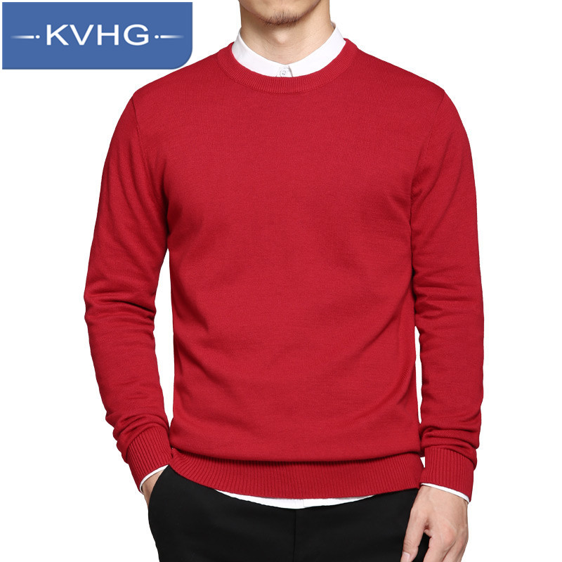 KVHG2016 new sweater men sweater hedging round neck sweater men's solid color leisure fashion sweater 7915