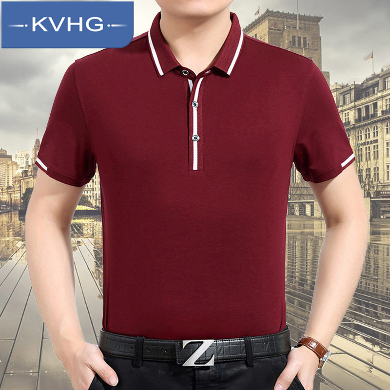 KVHG2016 solid iron business casual shirt lapel middle-aged men's summer short sleeve t-shirt wild 2712