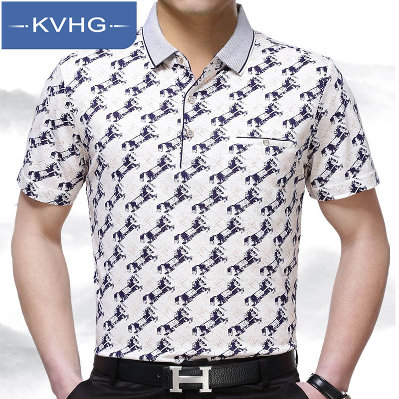 KVHG2016 summer middle-aged men's new fashion short sleeve t-shirt printing bottoming shirt lapel dad installed 6907