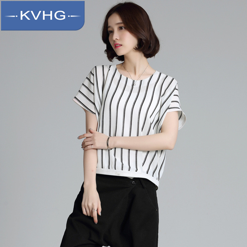 KVHG2016 summer new loose and comfortable ladies fashion hedging short sleeve striped chiffon shirt influx of women with disabilities 7589
