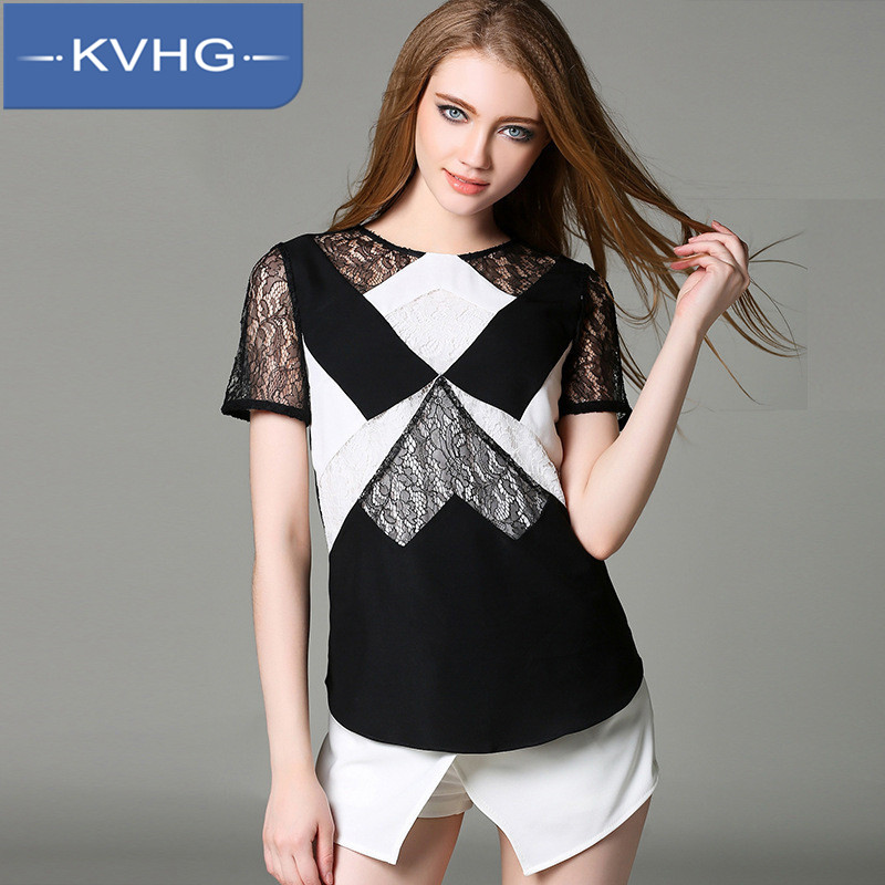 KVHG2016 summer new women in europe and america hit the bottom lace openwork stitching slim was thin short sleeve shirt female 3787