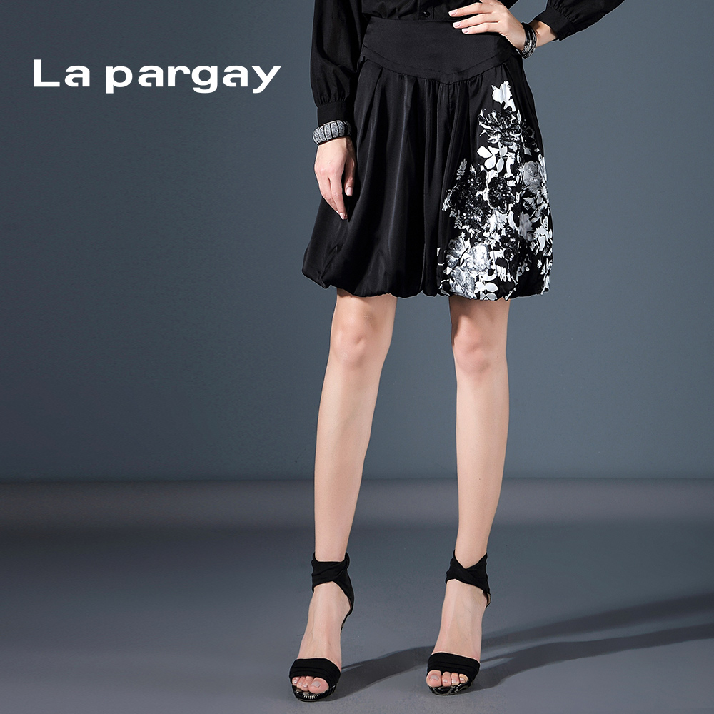 La pargay2016 summer new printed silk satin embroidered decorative lantern skirt L392916P