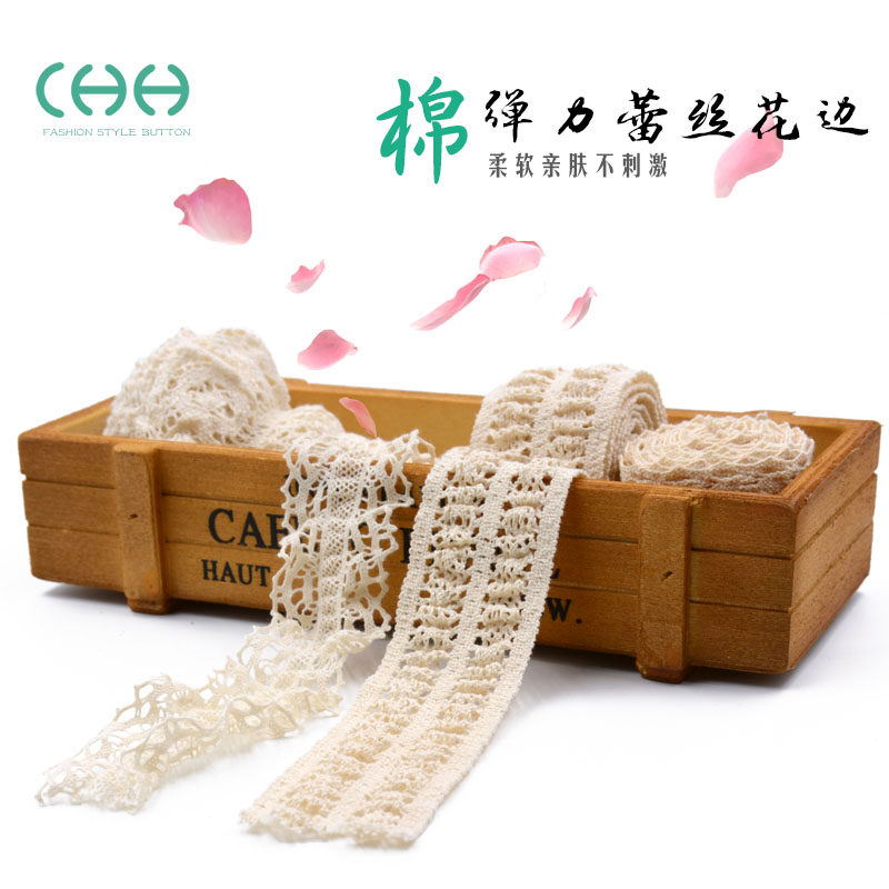 Lace accessories wide stretch of white lace openwork fabric with cotton clothing decorated with handmade diy cotton edge