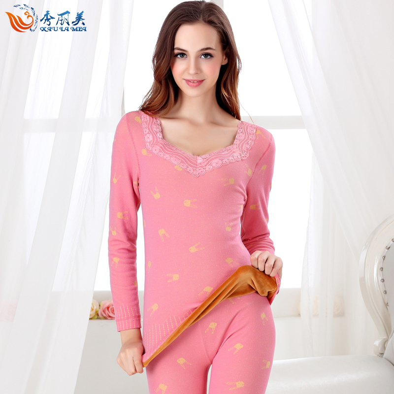 Ladies thermal underwear thick winter plus velvet female double v-neck lace body shaping suit qiuyiqiuku round neck