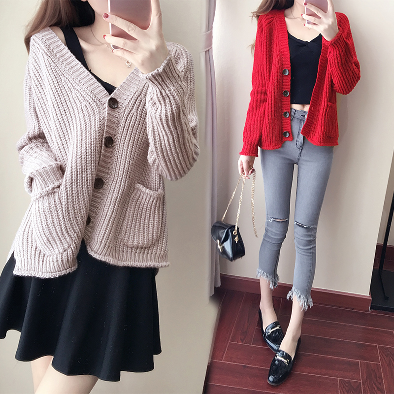 Lady rui/rui lady 2016 new autumn and winter fashion temperament was thin single breasted sweater needle woven shirt ladieswear