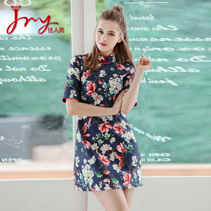 Lady yuan 2016 hitz women retro commuter fifth sleeve collar dress printed skirt fashion