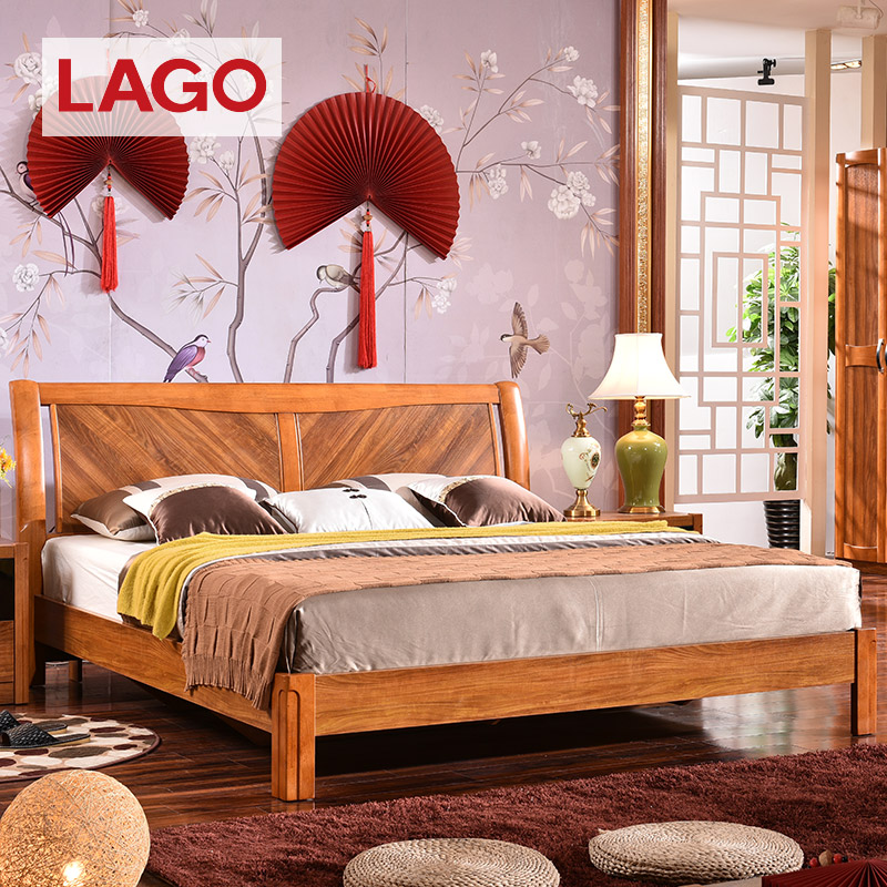 Lago modern new chinese solid wood oak double bed 1.8 m beds all wood bed 1.5 storage matter of high box bed 6a13
