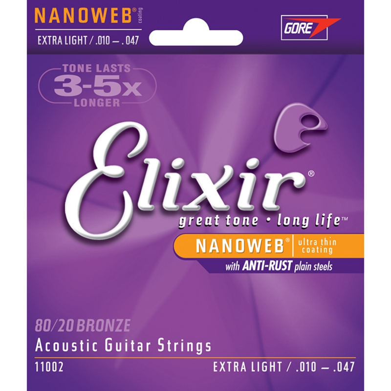Lakes erie elixir nanoweb 11002 flags 010-047 antirust coating folk guitar strings