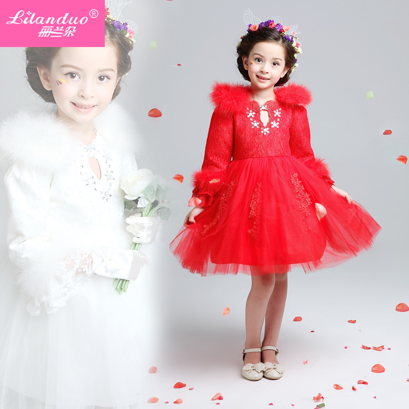 Lan duo thick quilted girls princess wedding dress flower girl dress children long sleeve dress princess dress tutu skirt autumn and winter