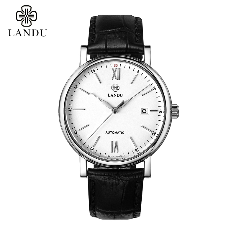 Lando genuine automatic mechanical watches men watches men watch men's casual genuine leather belt fine waterproof thin strips