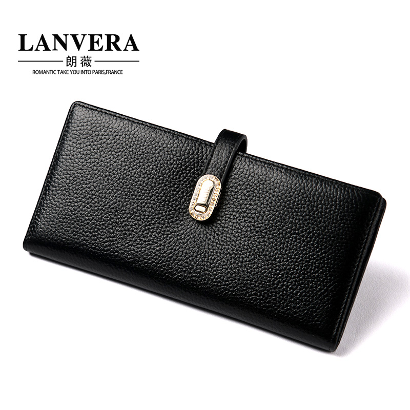 Lanvera lang jorvi japan and south korea the new ms. long leather wallet embossed first layer of cow leather buckle wallet female