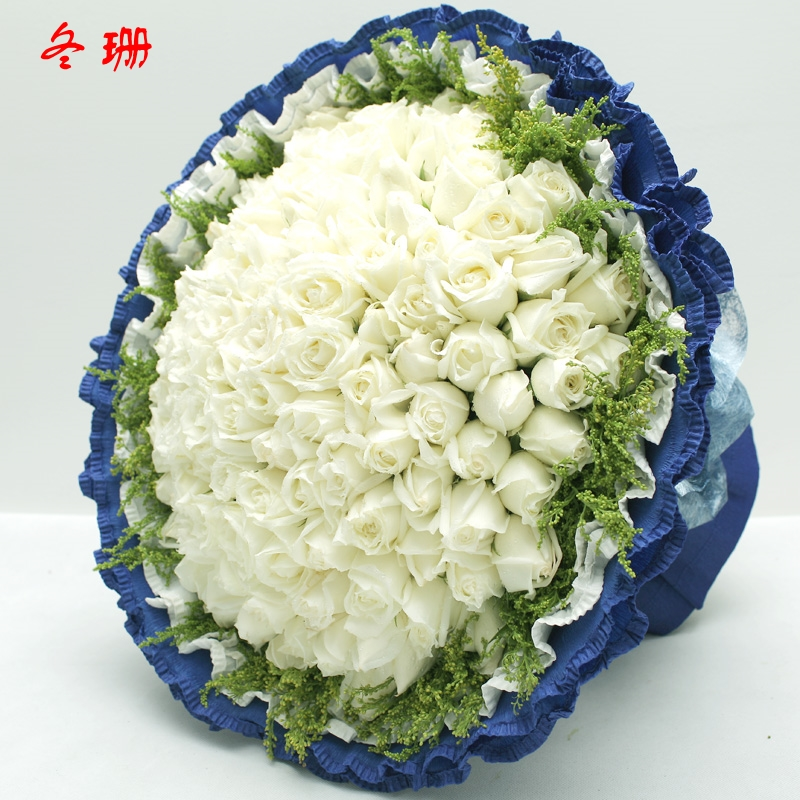 Lanzhou flower delivery order flowers bouquet of 99 white roses valentine's day marriage proposal confession flowers yantai quanzhou baotou flowers