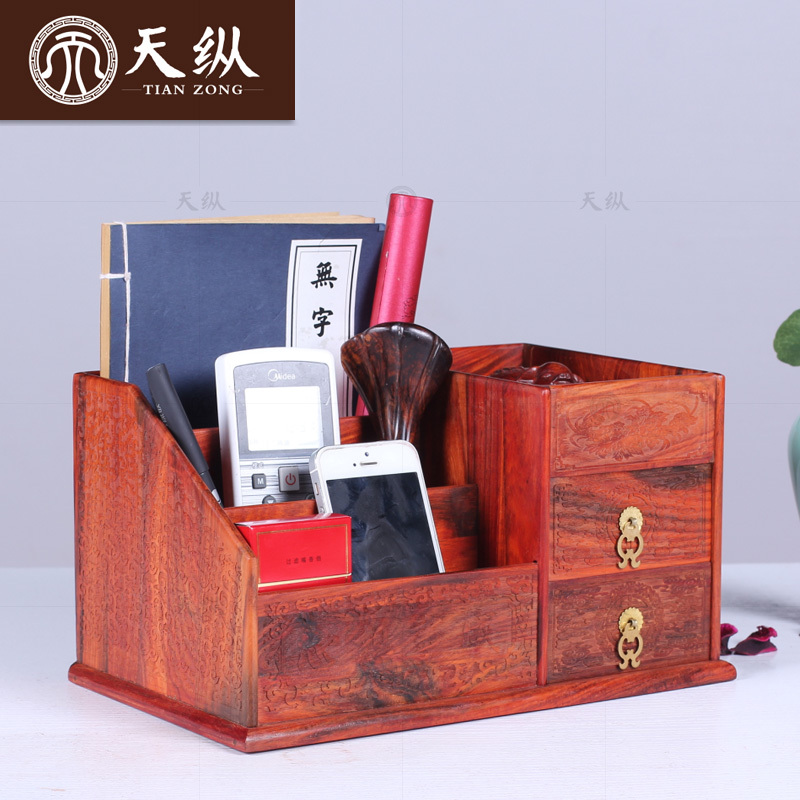 Laos red wood mahogany desktop storage box with dual plain carved jewelry box drawer storage box remote control