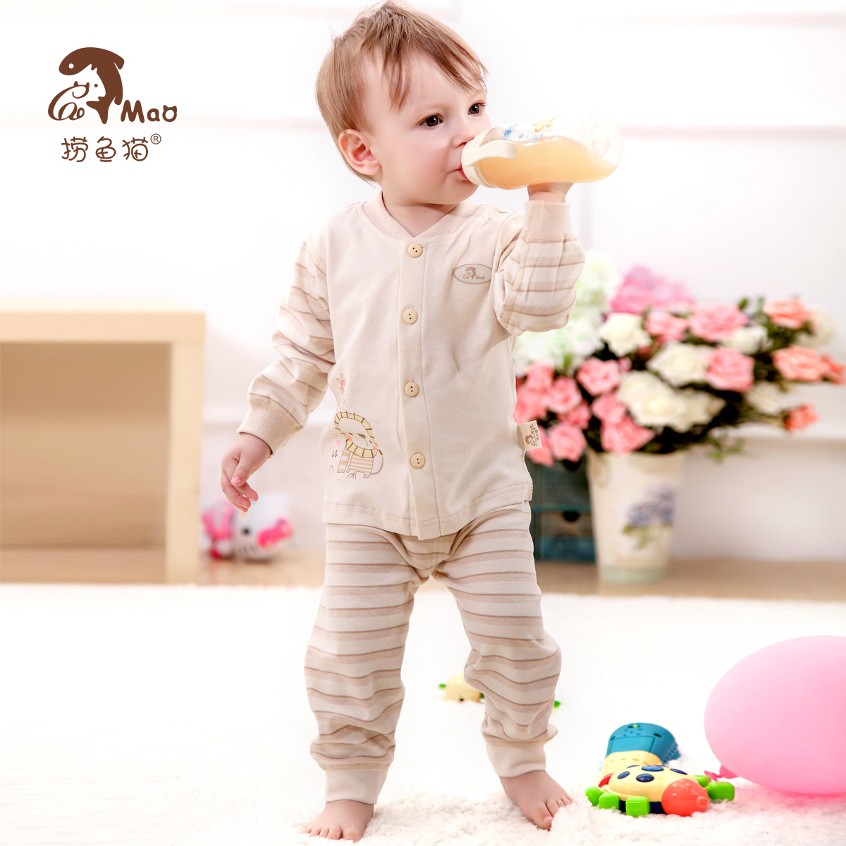 Laoyu cat children's underwear suit boy female children's clothing spring and autumn long sleeve pajamas treasure treasure underwear autumn baby clothes