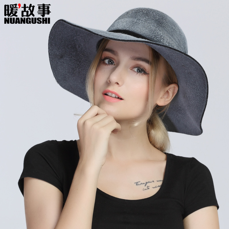 Large brim hat female leisure wild warm autumn and winter wool fedora hat bucket hats hat in europe and america british retro elegance