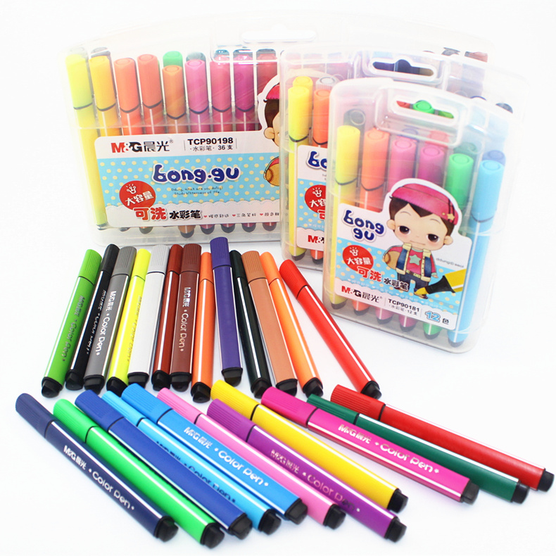 Large capacity dawn watercolor pen color can be washed 12 18 24 36 flat triangular grip boxed nonvenomous