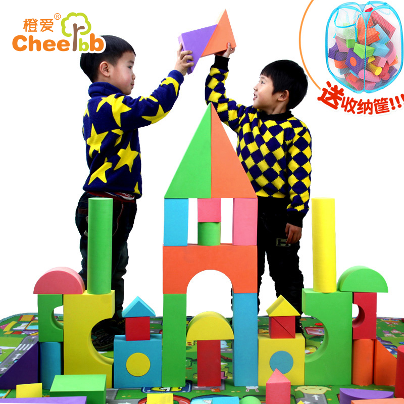 Large children's safety soft foam sponge eva software building blocks building blocks chunk assembled educational toys for boys and girls