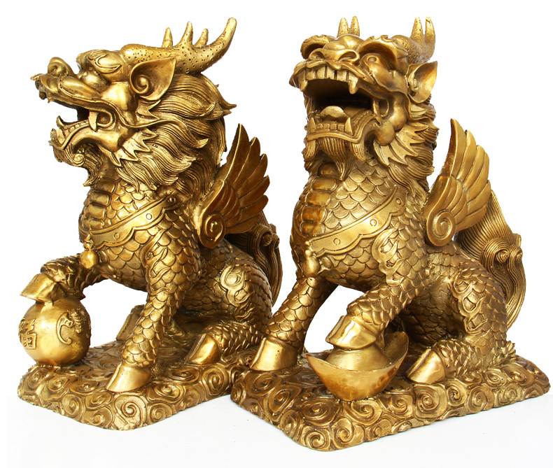 Large copper unicorn ornaments one pair of feng shui home opening lucky mascot home decoration crafts furnishings