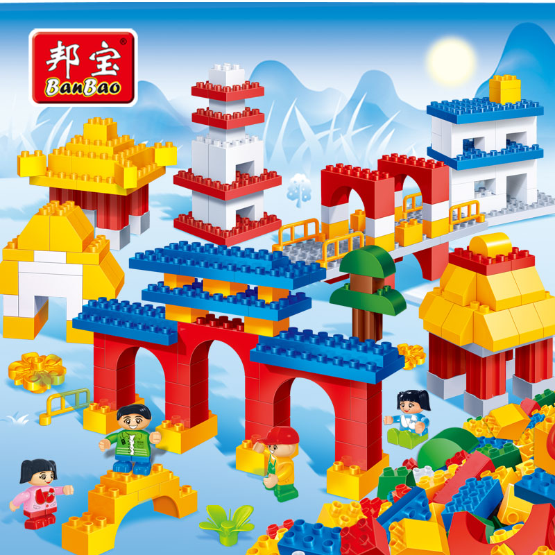 [Large particles] bang bao creative fight inserted blocks puzzle early childhood house children's toys traditional architecture 6511
