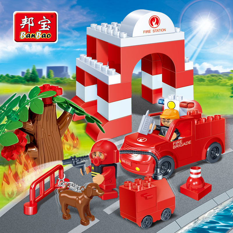 [Large particles] bang bao toy building blocks puzzle fight inserted city fire rescue action 9632 9643