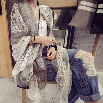 Large scarf skull summer seaside beach towel sunscreen chiffon scarf female air conditioning shawl scarf dual