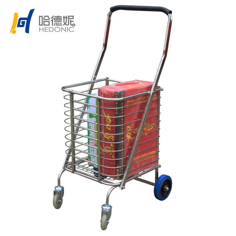 Get Quotations · Large Stainless Steel Portable Folding Shopping Cart  Elderly Cart Shopping Cart Caster Carts Queen