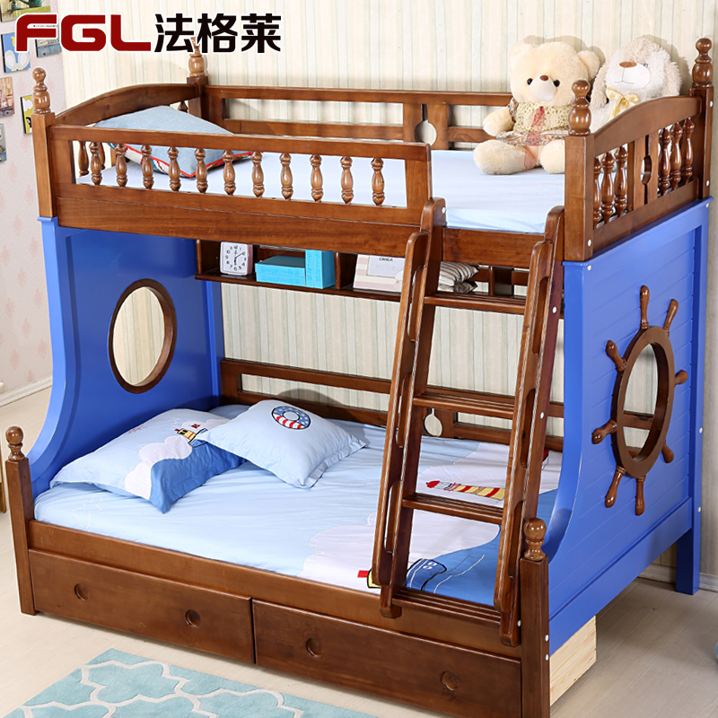 Law glèlè mediterranean solid wood bunk bed bunk bed pine bed children's bed boy bed bed bunk bed combination