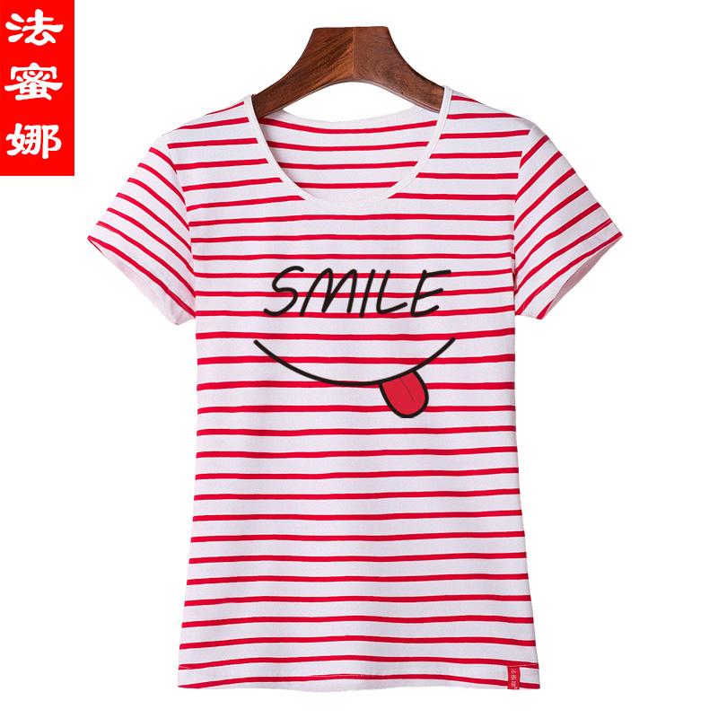 Law meela short sleeve t-shirt female summer 2016 summer new women black and white striped sleeve loose shirt bottoming shirt