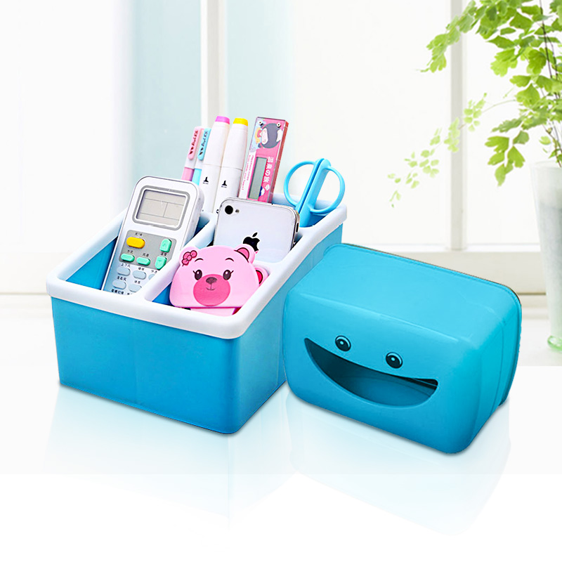 Le clothes thick plastic smiley pumping jewelry box cosmetic storage box remote control box two sets of storage boxes