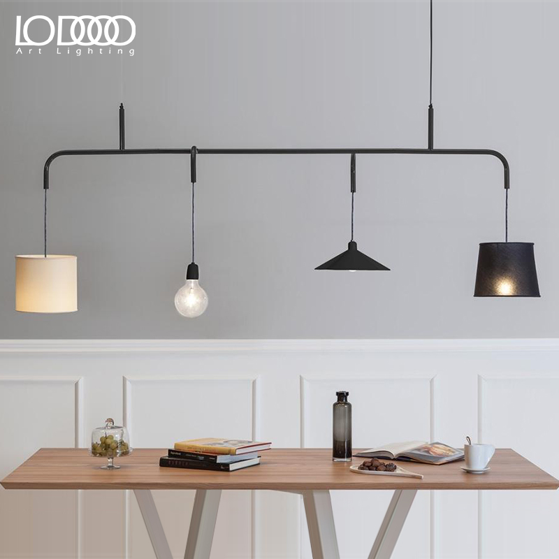 Le light scandinavian modern minimalist creative personality retro american industrial style wrought iron chandelier restaurant bar taiwan four headlights