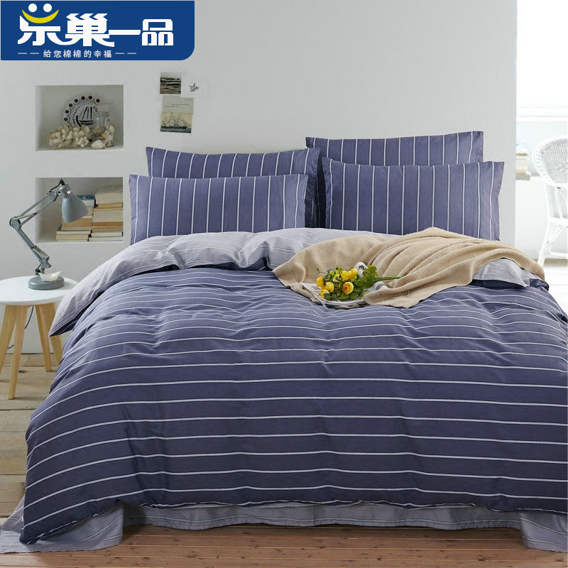 Le nest simoniir cotton bedding cotton denim 1.5 m european and american minimalist double bed linen quilt shipping goods