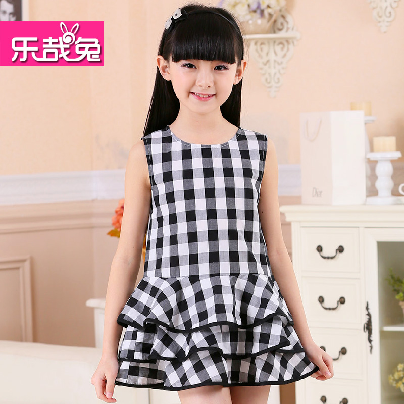Le zai rabbit 2016 summer new large girls skirt cake skirt sleeveless cotton dress children dress tide